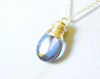 Twilight Necklace, Purple Haze Serenity Blue Silver Wire Wrap Jewelry, Sterling Silver Tanzanite Denim Blue Teardrop