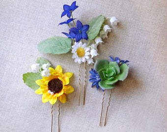 flower hair clip, sunflower hair clip, floral hair piece, wildflower hair piece, royal blue wedding, lily of the valley, flower hair pin