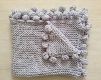 Baby blanket. Baby gift. Hand knit blanket. Baby shower gift. Grey baby blanket. Snuggle blanket. Ready to ship.