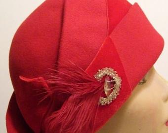 Vintage 1930's Red Fur Women's Hat