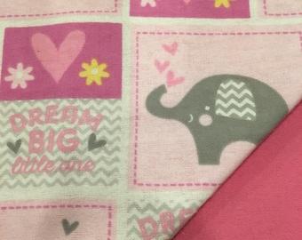 Flannel Pink Elephant Baby Blanket