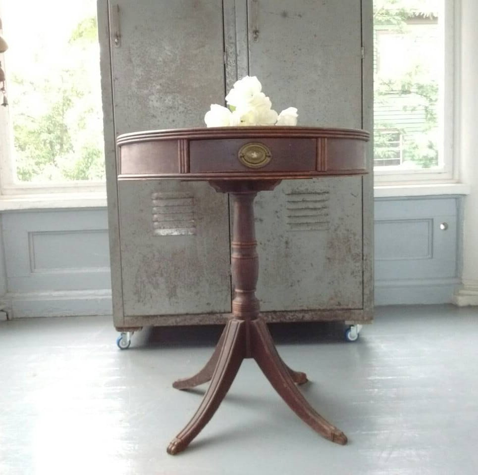 Antique, Entrance Table, Drum Table, Pedestal Table, End Table, Lamp Table,  Claw Foot Table, Wood, Round, RhymeswithDaughter