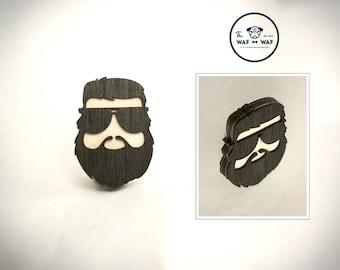 Wooden beard brooch, hangover gift, zach galifianakis, bearded man gift.