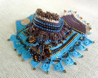 Freeform Crochet Bracelet Cuff in Blue Brown with Flowers, Handmade Crochet Beaded Jewelry, Unique Cuff for Gift