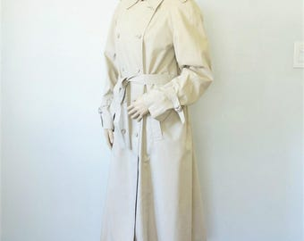 London Fog Trench Coat Spy Rain Coat Double Breasted Winter Lined Military Khaki Size 14 Reg
