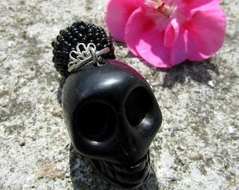 Pendant tassel dangle howlite skull