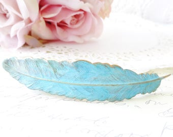 Verdigris Feather Hair Barrette - Large Feather Hair Clip - French Feather Hair Barrette - Woodland Feather Barrette - Wedding Hair Clip