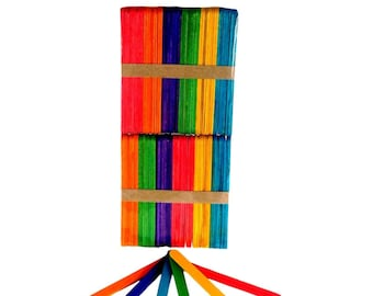 Lollipop Sticks wooden Assorted Colours 100pcs