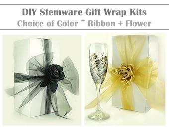 10 DIY Stemware Gift Wrap Kits: Ribbon + Topper Choice of Color Flute Gift Wrap Kits with Ribbon Gift Wrapping Ribbon Gift Wrap Ribbon