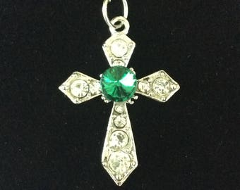 Cross pendant silver with center green or red stone