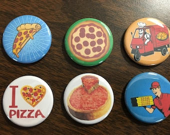 Pizza magnets or pin back buttons