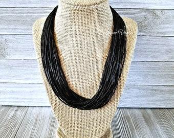 Black necklace, black bead necklace, black beaded necklace, multi strand necklace, black jewelry, gold jewelry, black beaded jewelry, neckla