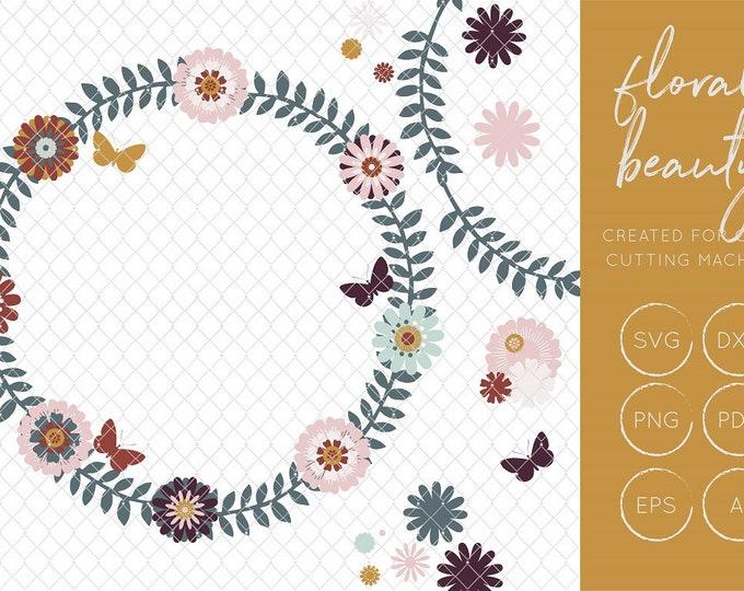 DIY Floral Wreath SVG Cut File, FCM Cut File