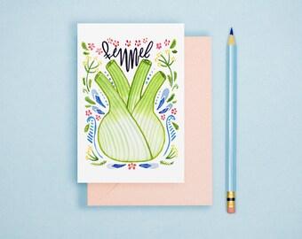 Watercolor Fennel Illustration Print -  Vegetable Print, Rustic Kitchen Decor, Food Illustration, Watercolor Print, Vegetable Postcard