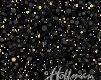 Hoffman Bali Fabrics - Poinsettia Song - Q7637 4G - Black-Gold - 100% cotton screenprint with metallic accent