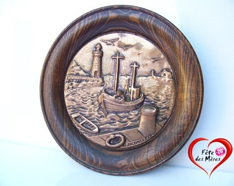 Table/wall plate embossed copper R.REBATET medailleur 1950 French sculptor