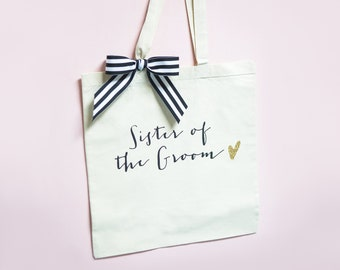 Bridal Party Bags for Wedding or Shower Gift, Canvas Bags for Bride & Bridesmaids, Striped Ribbon Bag for Wedding Favors  ( Item - BBR300)