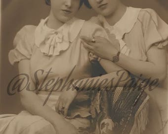 1934 | Real Photo Postcard | two women photograph | vintage sepia tone