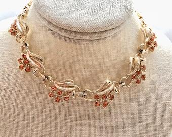 Vintage Pale Topaz Orange Rhinestone Leaves Bridal Bridesmaid Wedding Prom Art Deco Gold Necklace Doodaba