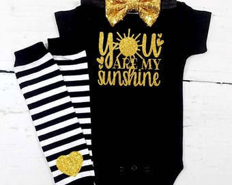 baby girl clothes baby girl outfit baby girls clothes newborn girl clothes you are my sunshine black and gold outfit baby girl clothes