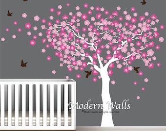Cherry Blossom Tree Wall Decal-Nursery Decals Girls-Blowing Tree Decal-Wall Sticker-Cherry Tree with Birds-e61