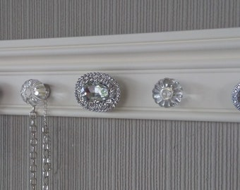 You CHOOSE 5, 7 or 9 KNOBS on this Stunning jewelry holder This wall necklace organizer on off white background with Rhinestones great gift