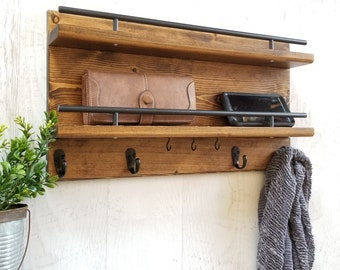 Wood Coat Rack,Entry Organizer, Wall Organizer, Coat Rack, Wall Hook, Mail Organizer, Wall Decor, Entryway Coat Rack, Key Holder