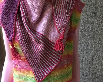 Scarf, Cowl, knitted scarf, triangular cowl, knit scarf, scarf with tassels,triangle scarf, triangle cowl