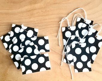 Mini cards and tags, gift wrapping, gift wrap, wrapping paper accessory, tiny card, card and envelope, black and white