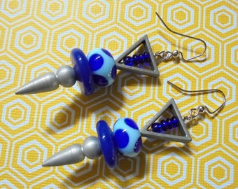 Blue and Silver Spotted Retro Boho Earrings (3640)