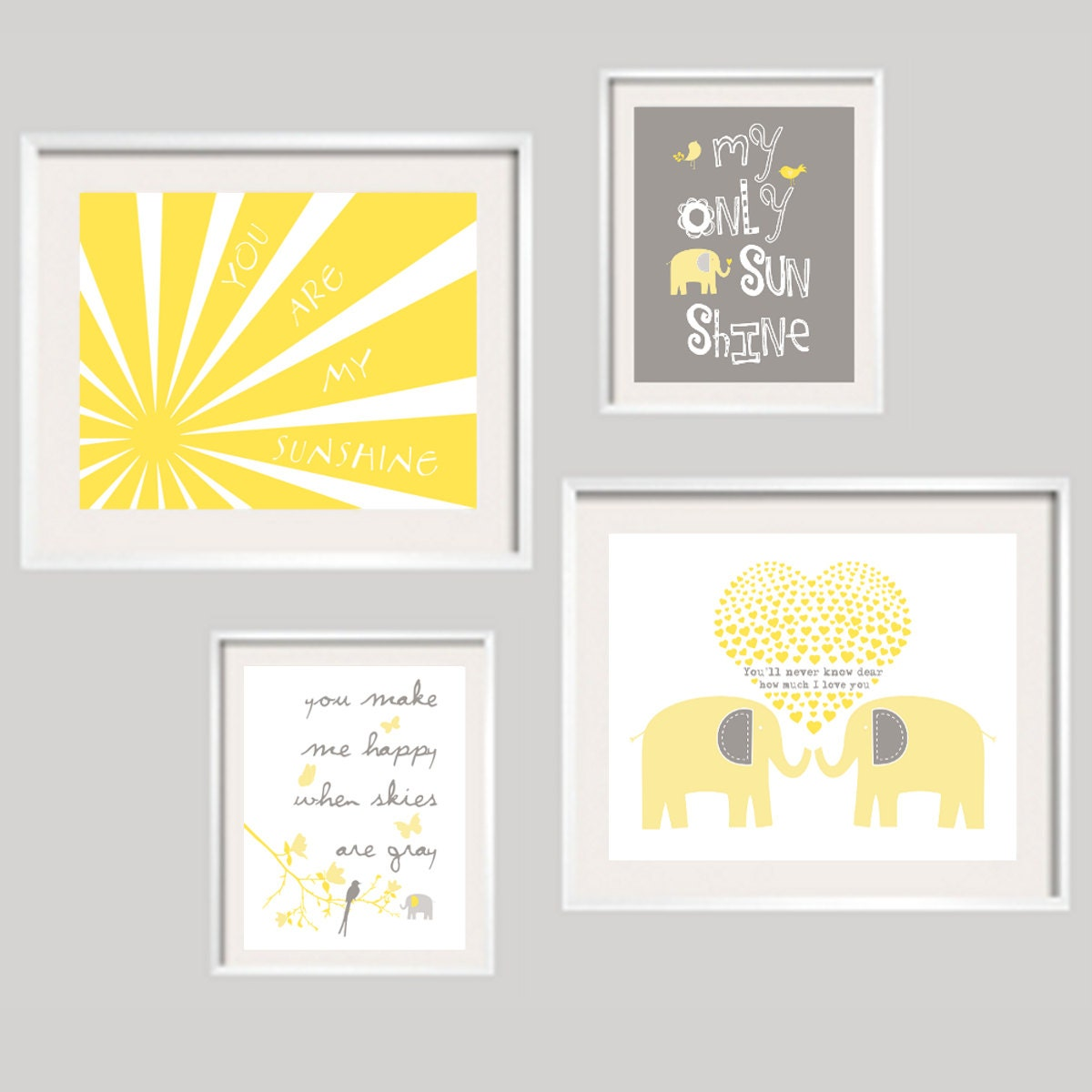 You are my sunshine baby wall decor Yellow Grey Elephant