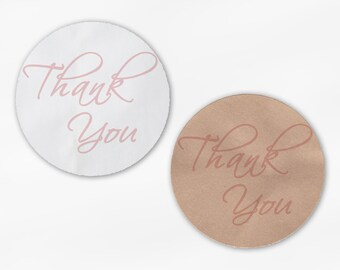 Thank You Script Wedding Favor Stickers in Blush Pink - Custom White Or Kraft Round Labels for Bag Seals, Envelopes, Mason Jars (2025)