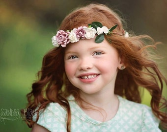The Fia single tiered Floral Halo comes in child or adult sizes
