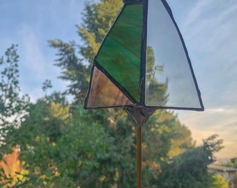Arrowhead Stained Glass Planter Stick