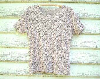Vintage 90s lace T Shirt Beige Grunge Knitted Top Semi Sheer Boho Hippie Floral Tee Mesh Vtg 1990s Size S-M