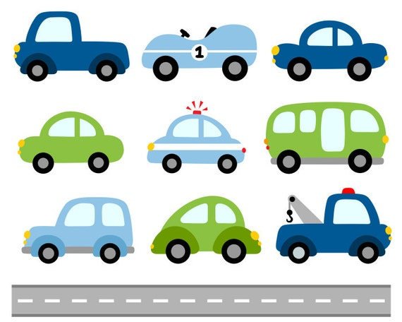 Cars Digital Clip Art Transportation Clipart Blue Green