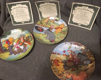 Disney Winnie The Pooh Collector Plates lot of 3 w COA's 1990's