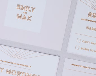 Gold and White Wedding Invitation with matching RSVP - Sample