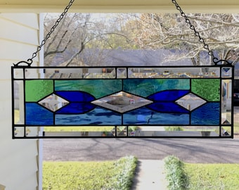 "Stained Glass Window Panel Suncatcher w/Bevels - Blue & Green Tones, apprx size 19"" x 6"""