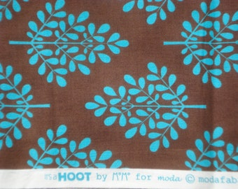 MoMo It's A Hoot Trees aqua brown moda fabrics FQ Washed