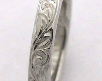 Hand Engraved Vine and Leaf Wedding Band and Anniversary Band 3mm 14k White Gold  Band Made to Order