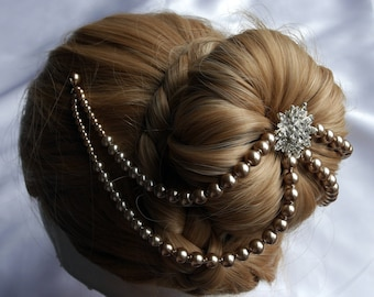 Pearl head chain, Bridal hair chain, Pearl Diamante hair chain and pins, Diamante hair drape, Pearl hair accessory, pearl hair piece