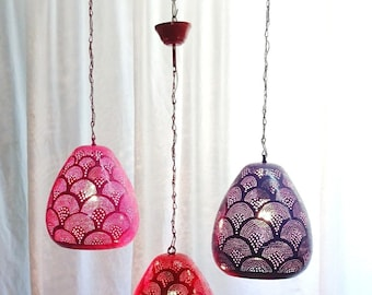 B270 Tin Mosaic Globe Moroccan Lampshade Hanging Lamp Red/Pink/Purple