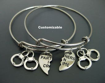 Partners in Crime Bracelet / Set of Two / Handcuff Bangle /  Partners in Crime Bangle / Best Friends Bracelet / Adjustable Charm Bracelet /