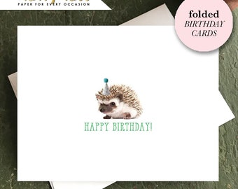 CUTE BIRTHDAY Cards, Baby Animal Party Animal Cards, Hedgehog Folded Birthday Cards, Kids Birthday Cards, Baby Animal Cards
