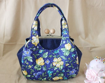 Kiss lock purse, Purses & handbag, Three layer handbag Blue Cosmetic bag, clutch bag, Metal frame purse   K1716
