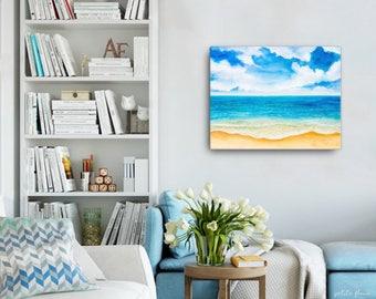 Watercolor Ocean Painting Abstract Canvas Print - Aqua Teal Blue Sea Coastal Beach Giclee Art Print-8x10/11x14/12x16/16x20 - Caribbean Azure