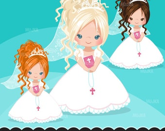 Pink First Communion Clipart for Girls. Holy Communion character, graphics, bible, rosary, veil. Communion Graphics, religious illustrations