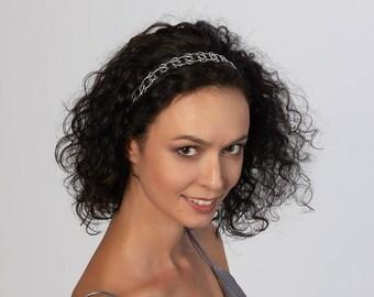 Hair jewelry Gold headband Silver headpiece Braid head Hair accessory headbands Silver headband Jeweled headpiece Metal headband 10401