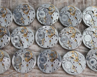 "lot of 15  (0.8 "" - 20 mm) watch movements / jewelry supplies / Steampunk supplies /  Watch movements for art / Vintage / Steampunk Findings"